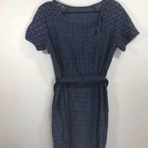 Vintage broderie anglaise lace sheath dress, navy